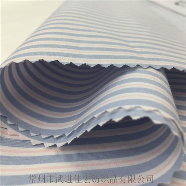 弹力条子布 ,60S色织棉涤弹力布
