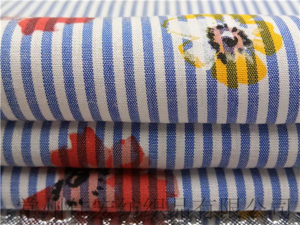 100%人棉面料厂家 50*50110*80人造棉条子印花布