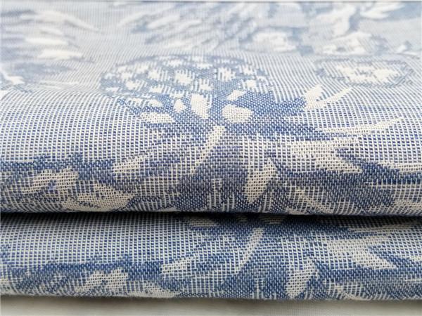 色织麻棉菠萝花型提花布,菠萝大提花面料生产定制