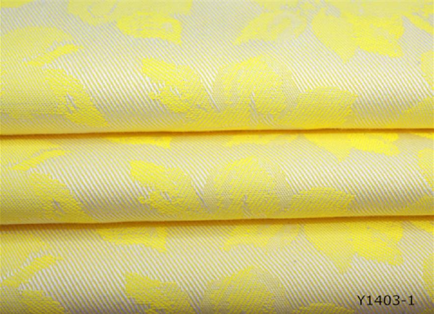 全棉大提花,黄色花朵色织大提花面料