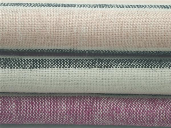 麻粘色织布,55L45R麻粘布,条子麻粘面料生产