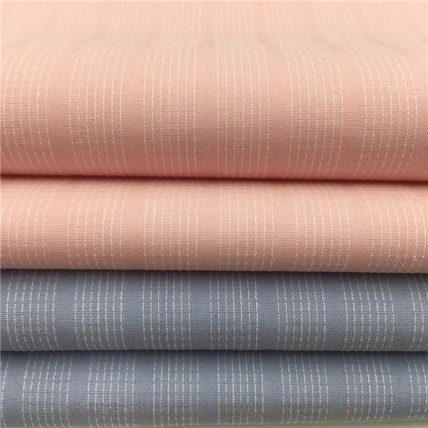 色织棉涤弹力布 ,60S高经密条子弹力布