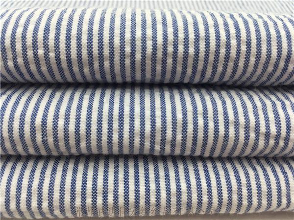 细条纹泡泡布面料,色织全棉泡泡布生产厂家